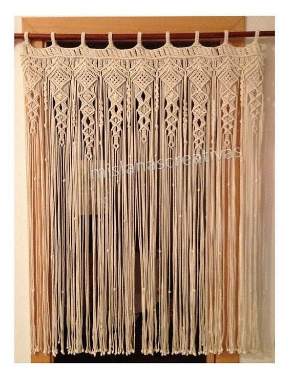 macrame curtain macrame fiber art large macrame macrame wall art ecru macrame curtain w36 x. Black Bedroom Furniture Sets. Home Design Ideas