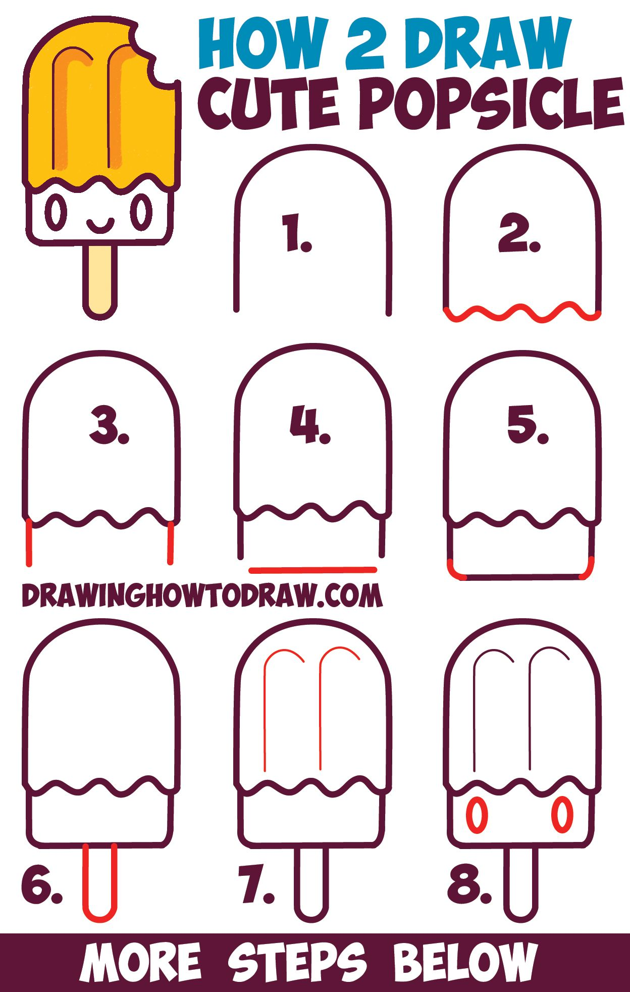 How To Draw Cute Kawaii Popsicle Creamsicle With Face On It Easy