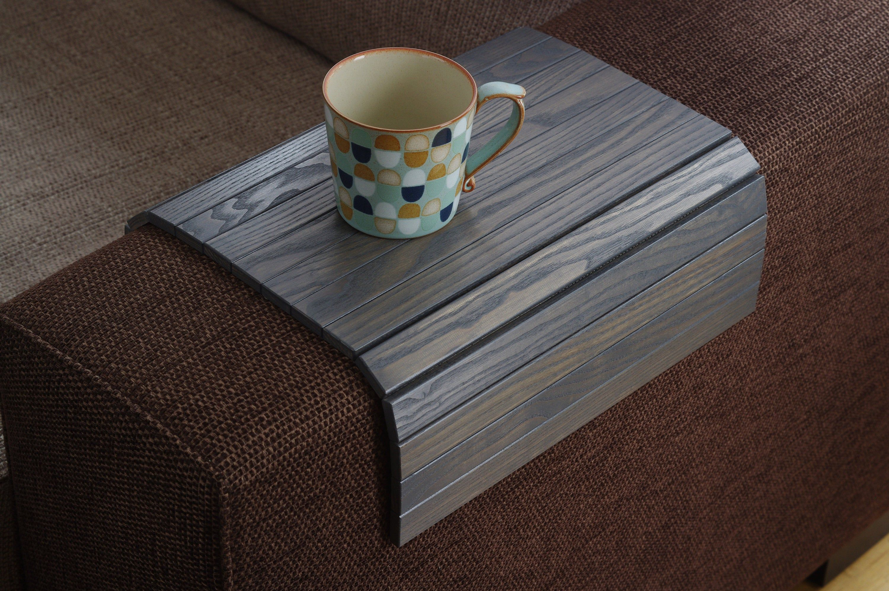 Sofa Tray Table Grey Armrest Tray Sofa Arm Tray Unique Etsy In 2020 Wooden Coffee Table Wood End Tables Coffee Table Tray