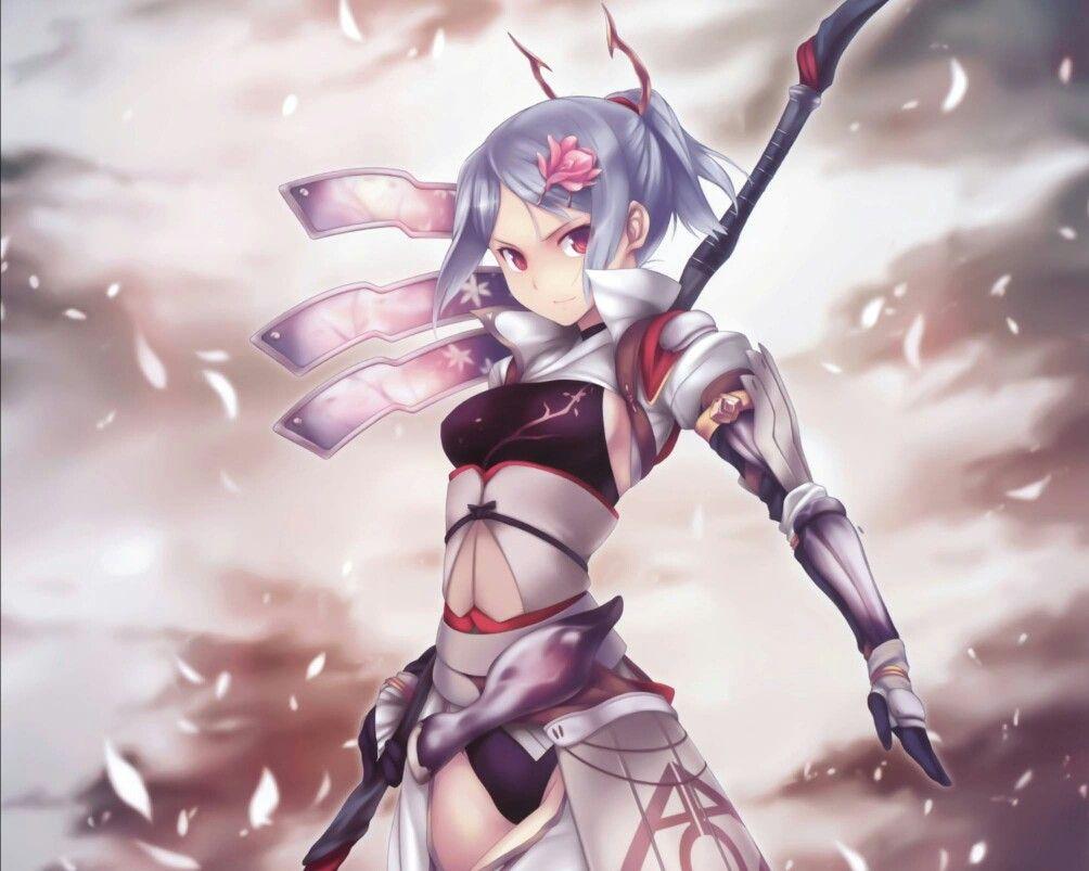 Blue Haired Spear Girl Chica Anime Anime Dibujos