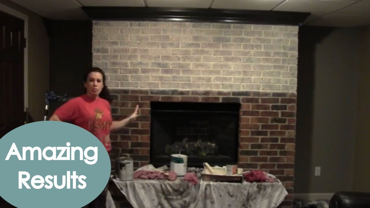 Whitewash a Brick or Stone Fireplace (how to) Renee