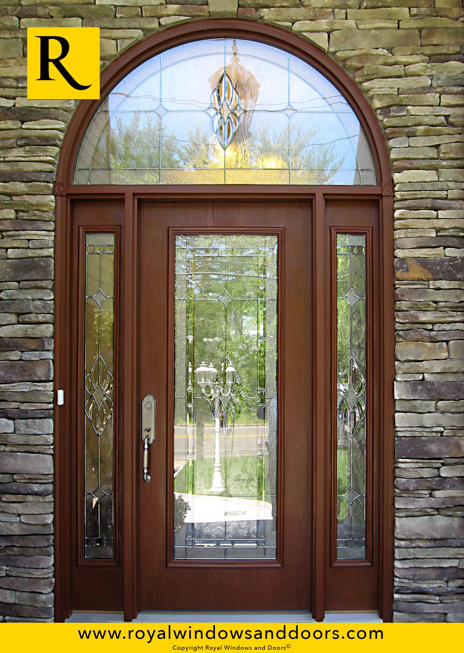 Single Entry Doors With Glass single entry door , wood finish, two side lites, transom, designer