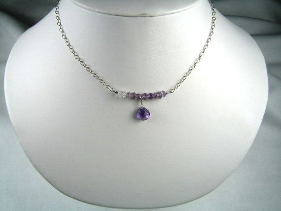 Ombre Amethyst necklace by 2magpies on Etsy, $25.00