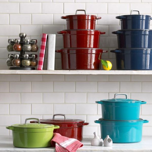 Martha Stewart Collection Collector's Enameled Cast Iron.   You can go wrong with Cast Iron!! --CC