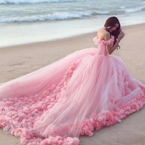 Pink Ball Gown Quinceanera Dress Sweet 16 Tulle Prom Birthday Evening Party Over