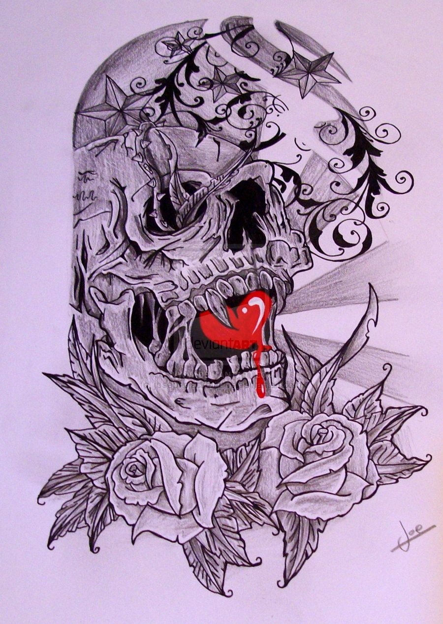 Skull Half Sleeve Tattoo Designs | Half Sleeve skull by ...