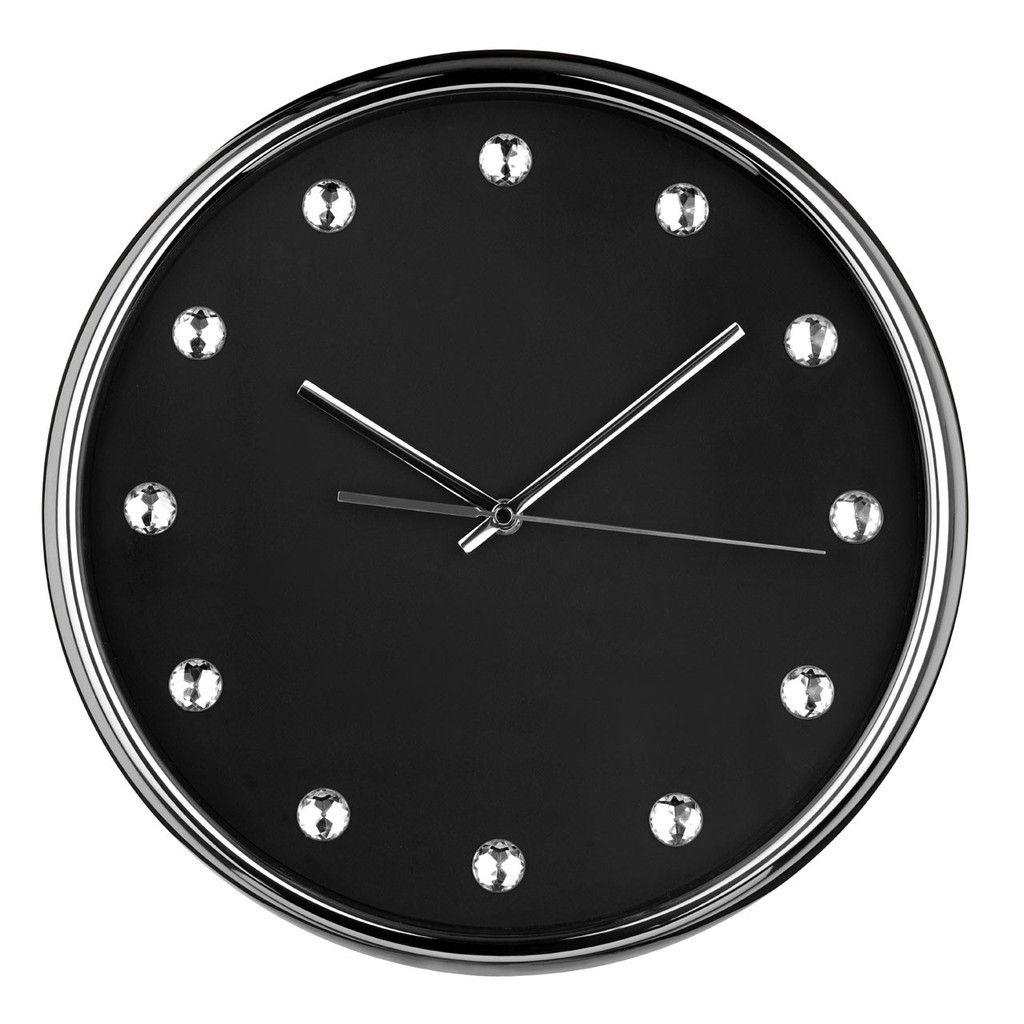Wall Clock, Black Face/Clear Diamantes