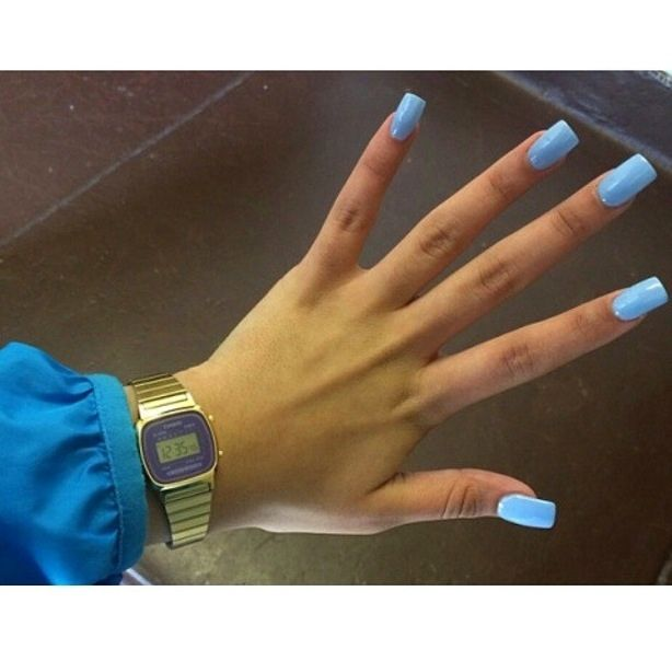 Baby Blue Short Coffin Nails Square Nails Blue Nails Short Acrylic Nails