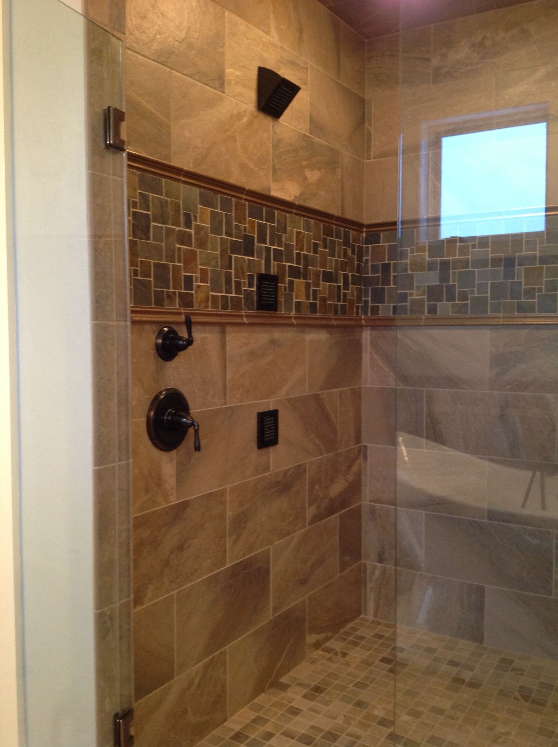 custom tile shower with slate accent