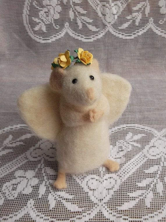 Needle Felted Animal Mouse Angel Praying Mouse by MrsPlopsShoppe