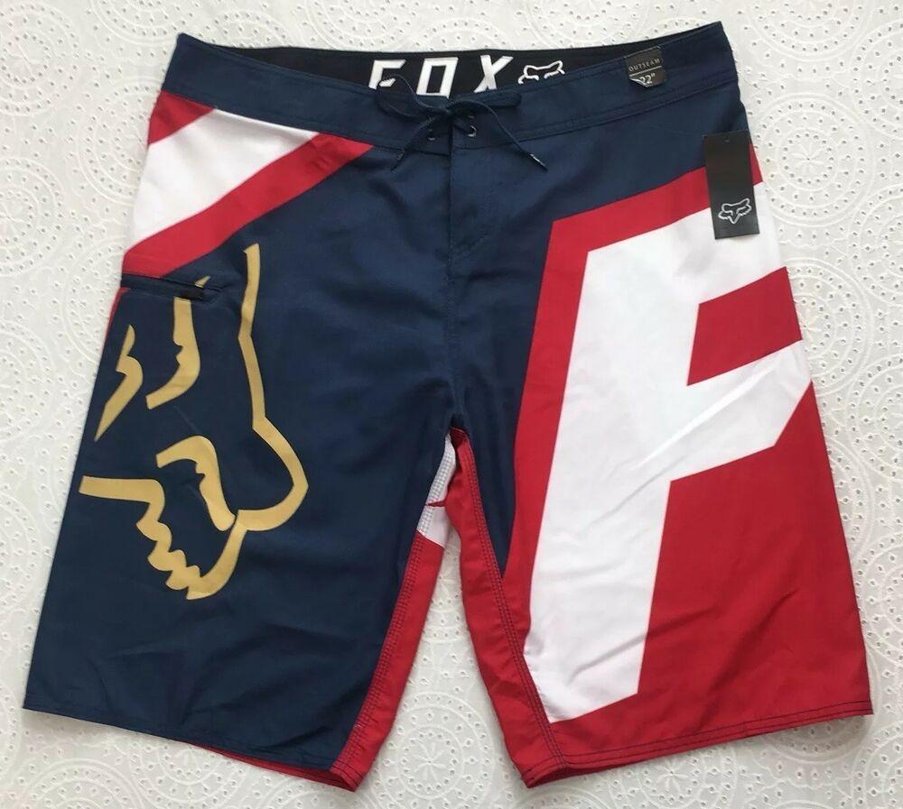d997b5fe1e248 Men's FOX All Day Board Short 36 New Red White Blue $49 Beach Surf Wear NWT