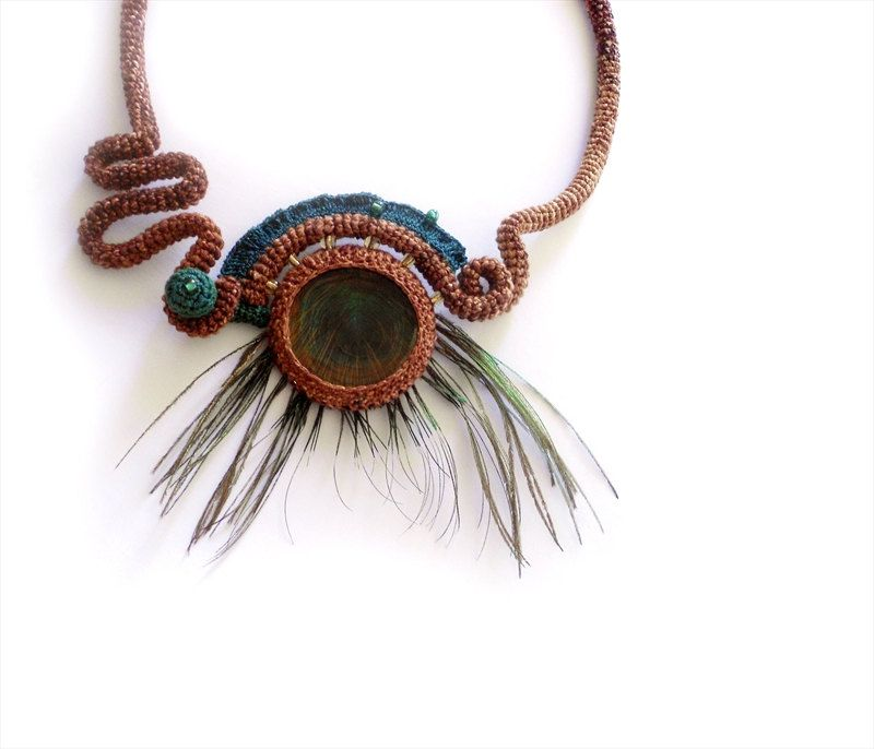 Exotic Crochet Necklace Natural Peacock Feather Eye Fall Fashion. $45.00, via Etsy.