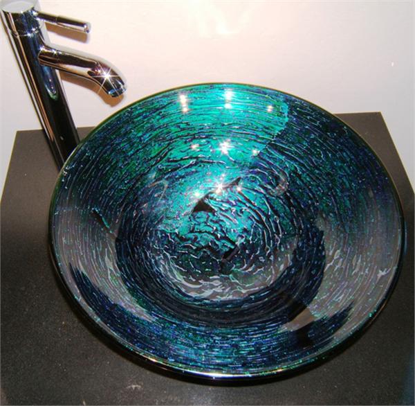 Green Dichroic Hand Blown Glass Vessel Sink