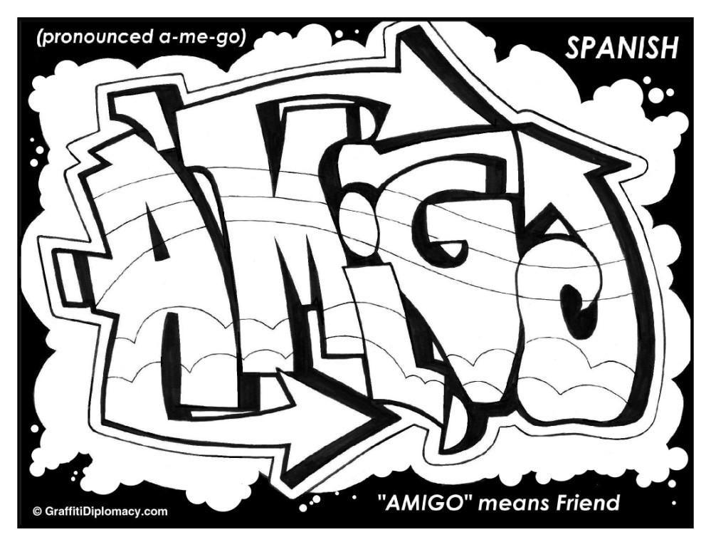 Amigo graffiti Spanish graffiti,free printable for kids