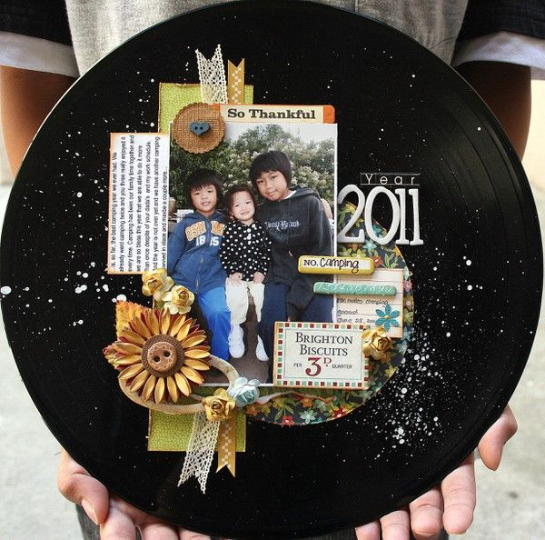 By I1ss6y From Two Peas Layout On A Vinyl Record Cool Would Be Great On Cutout And Painted Cardboard Or Just Car Record Crafts Vinyl Record Art Vinyl Crafts