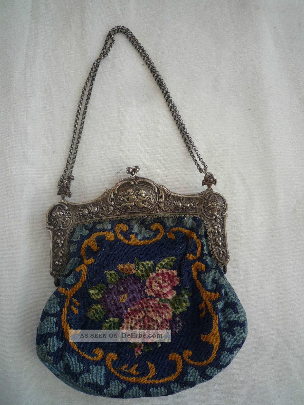 8508f25d15657 Antike Gobelin Tasche Handtasche Blumenstickerei Top Abendtasche Jugendstil  Accessoires Bild