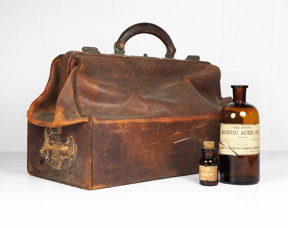 Antique Early 1900 S Leather Doctor Bag W By Hoofandantler 125 00