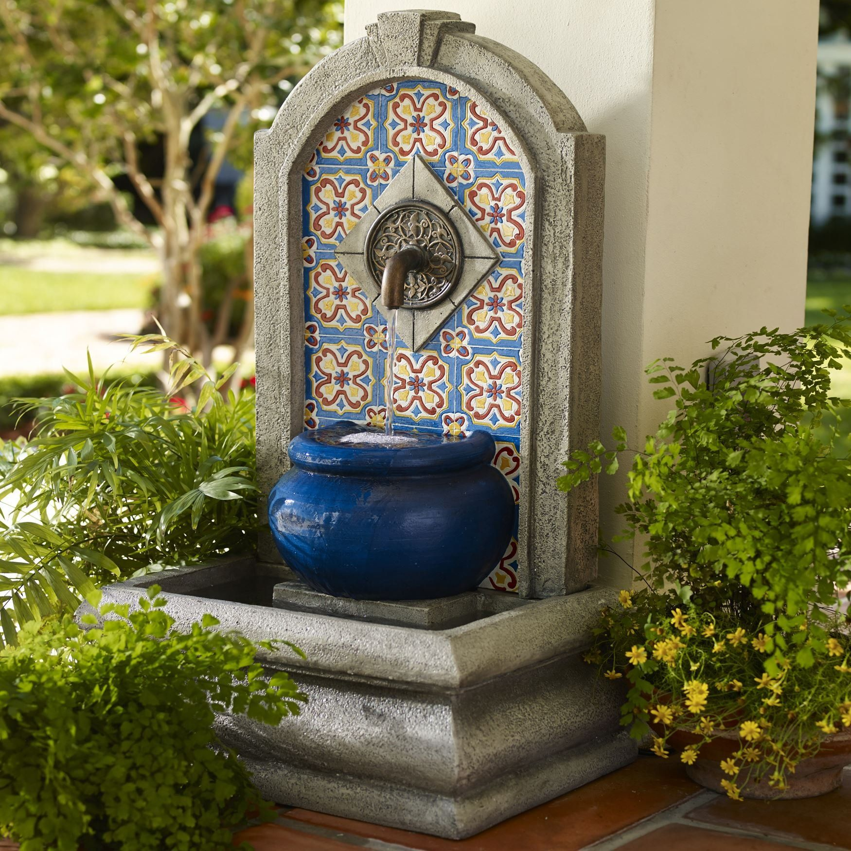 Tuscan mediterranean mosaic colorful spanish style water for Outdoor decorative items