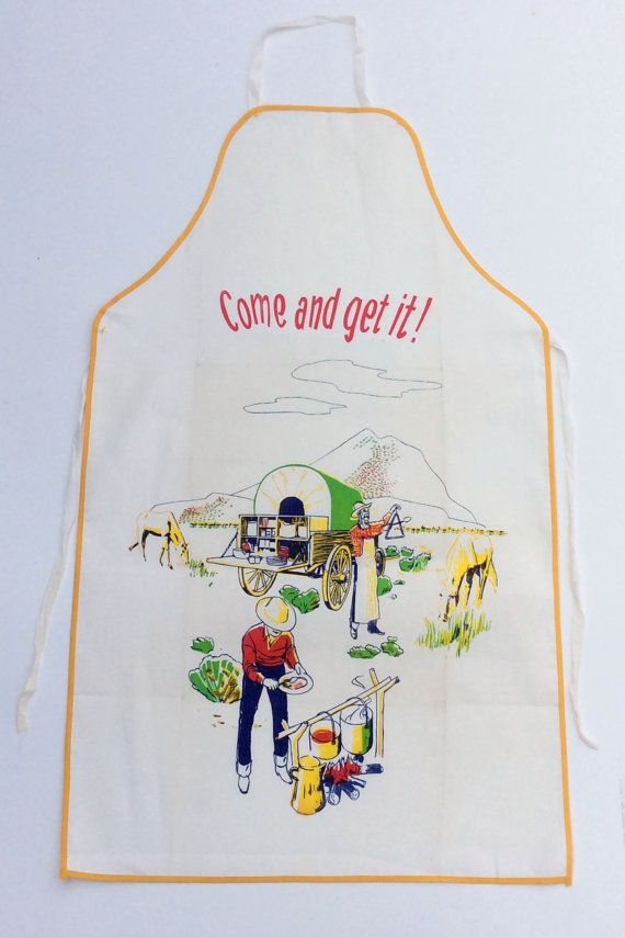Vintage Bbq Apron Cowboy Chow Call Come And Get By Unclebunkstrunk