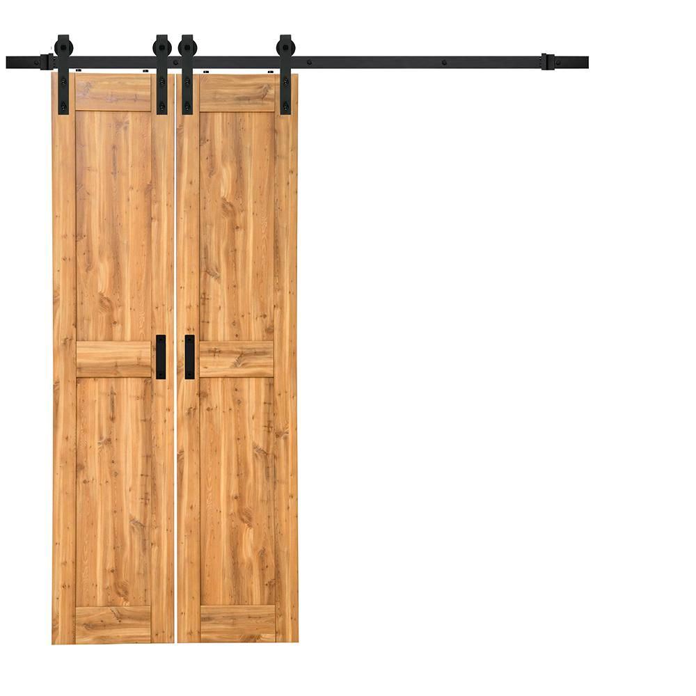 TruPorte 18 In. X 84 In. Pine (Green) Duplex MDF Barn Door With Sliding Door  Hardware Kit
