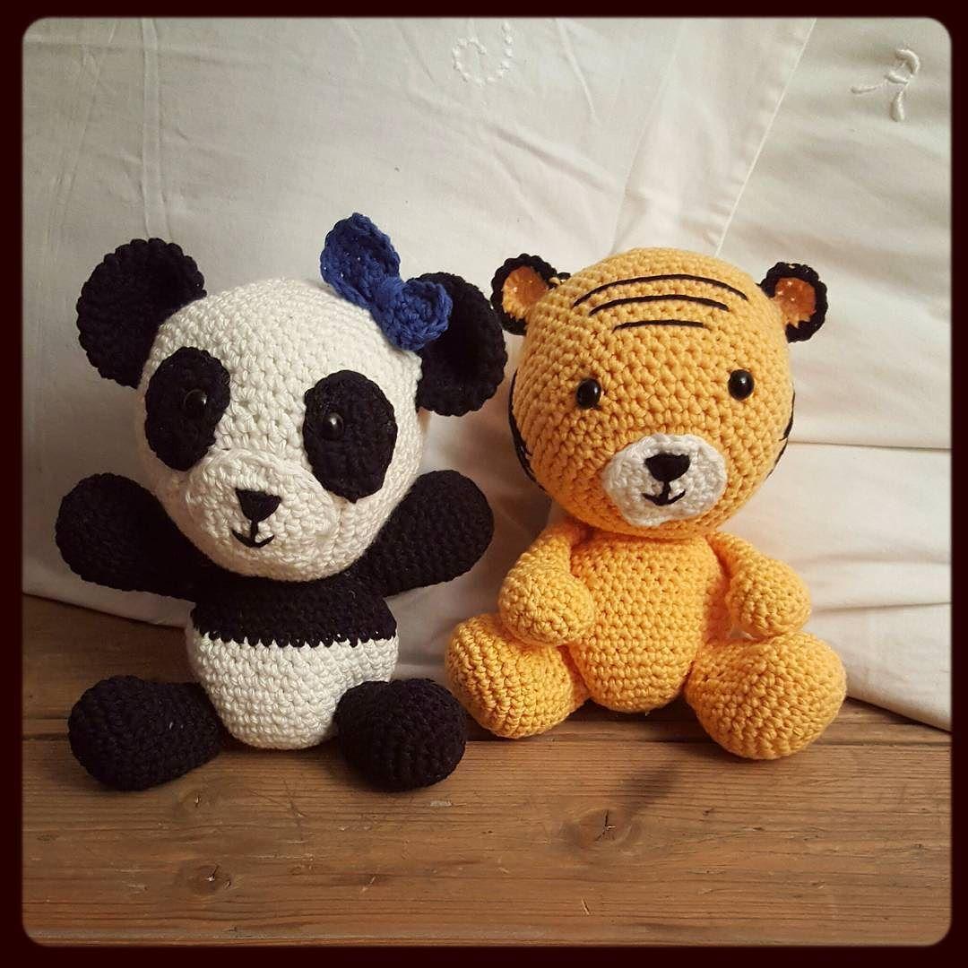 ragnhildpr:: Da har jeg endelig fått gjort ferdig disse to#pandaen#petra#tigeren#tim#heklingtilsmåfolk#amigurumi#
