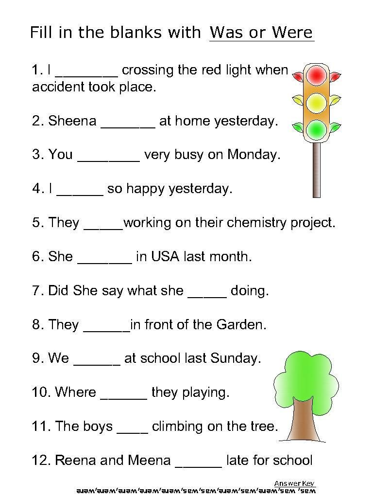 Helping Verb Worksheets For Was Were
