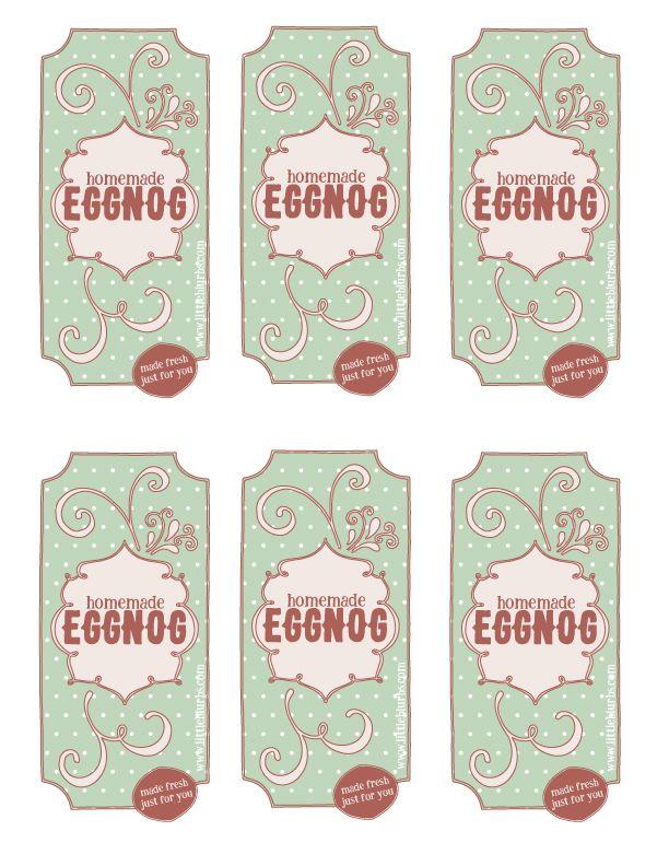 Free Printable Homemade Eggnog Labels | Christmas | Pinterest