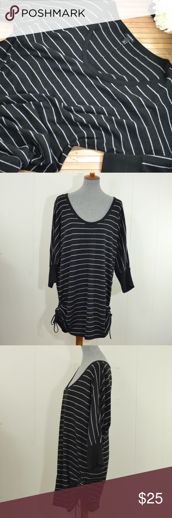 Torrid Black & White Striped Tunic Sweater | Tunic sweater, Torrid ...
