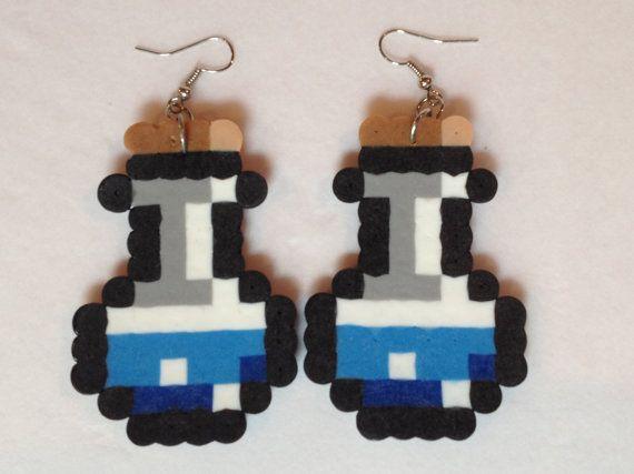 Blue Potion Bottle Perler Bead Earrings by SmiddySmiddyBangBang