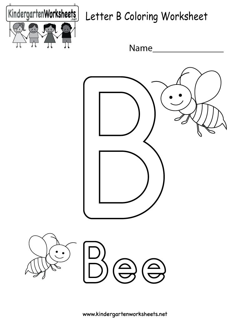 Kindergarten Letter B Coloring Worksheet Printable