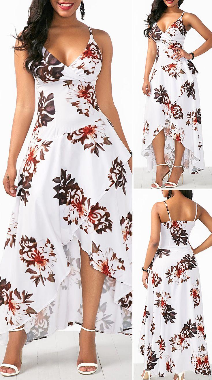 Asymmetric Hem Overlap Flower Print White Dress