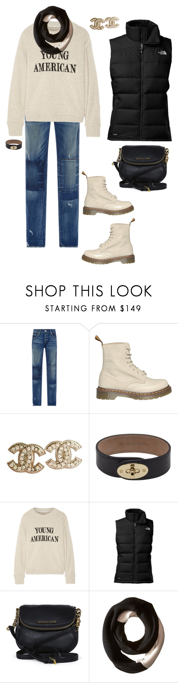 """""""Errands"""" by ccoss on Polyvore featuring AMO, Dr. Martens, Chanel, Mulberry, The Elder Statesman, The North Face, Michael Kors and SOREL"""