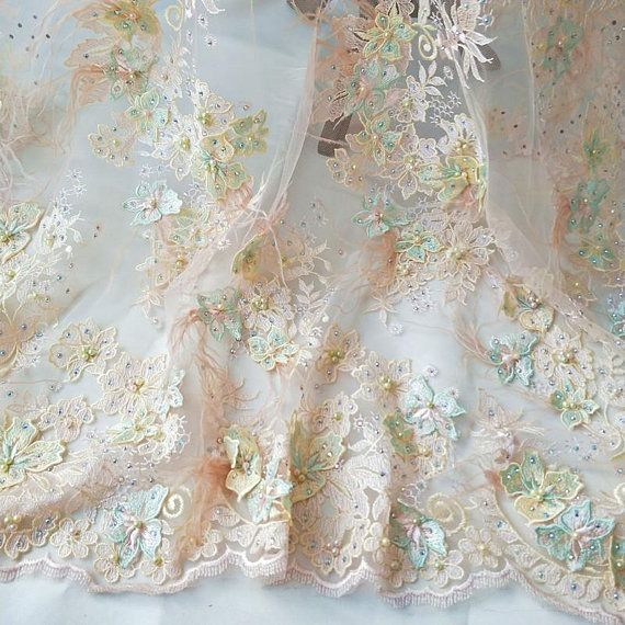 5a91cdc6f33c0 Nude 3D Beaded Flower Haute Couture Bridal Gown Fabric with Ostrich ...