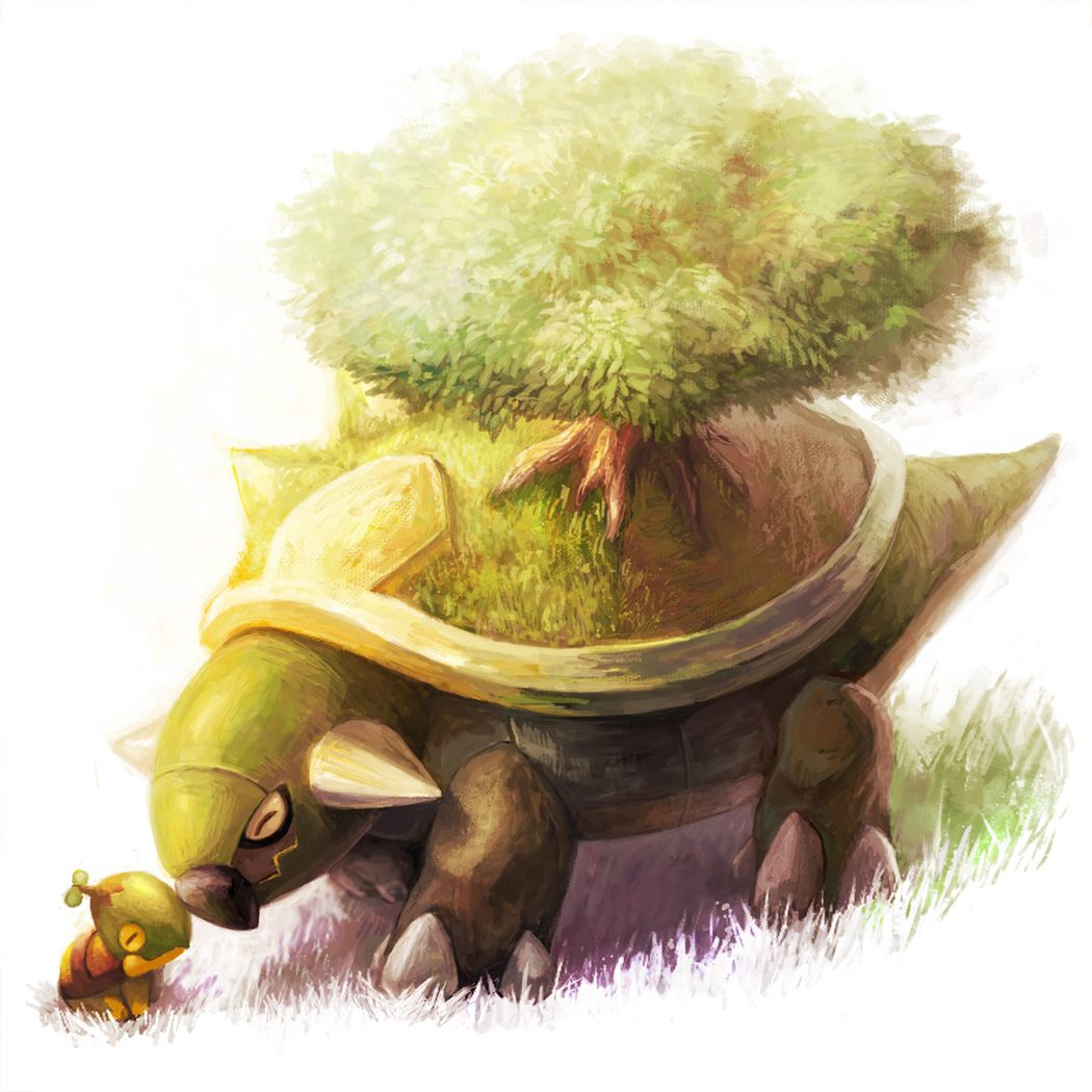 By Canine Village on pixiv.net, Torterra and Turtwig, solo cute!