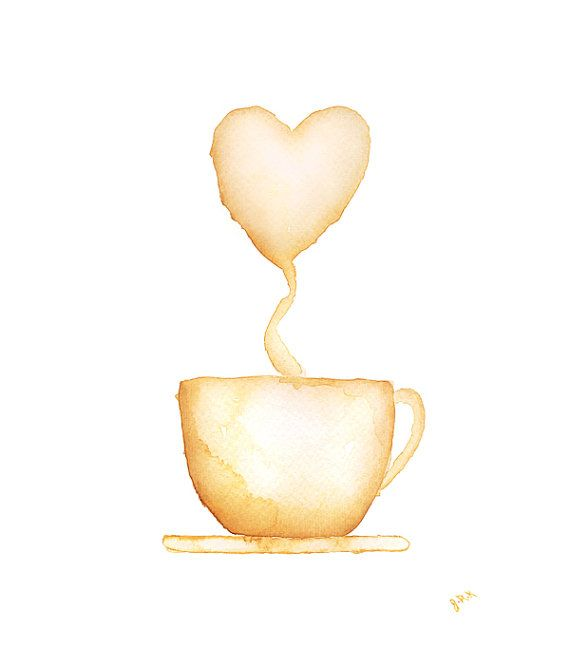 Coffee cup watercolor painting cocoa hot chocolate by for Coffee watercolor