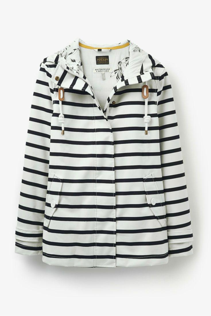 Joules Striped Waterproof Rain Jacket