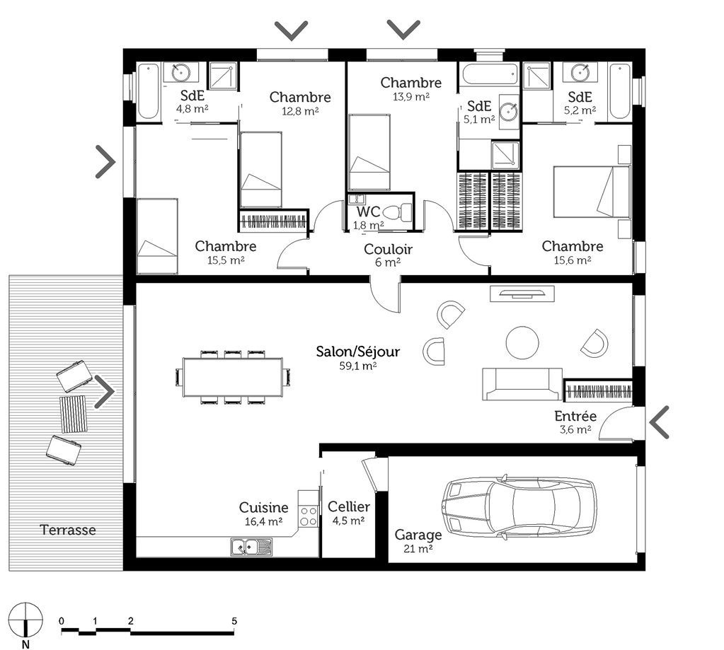 Impressionnant Plan Maison Carree 100m2 3 Chambres And Vuew Square House Plans House Plans How To Plan