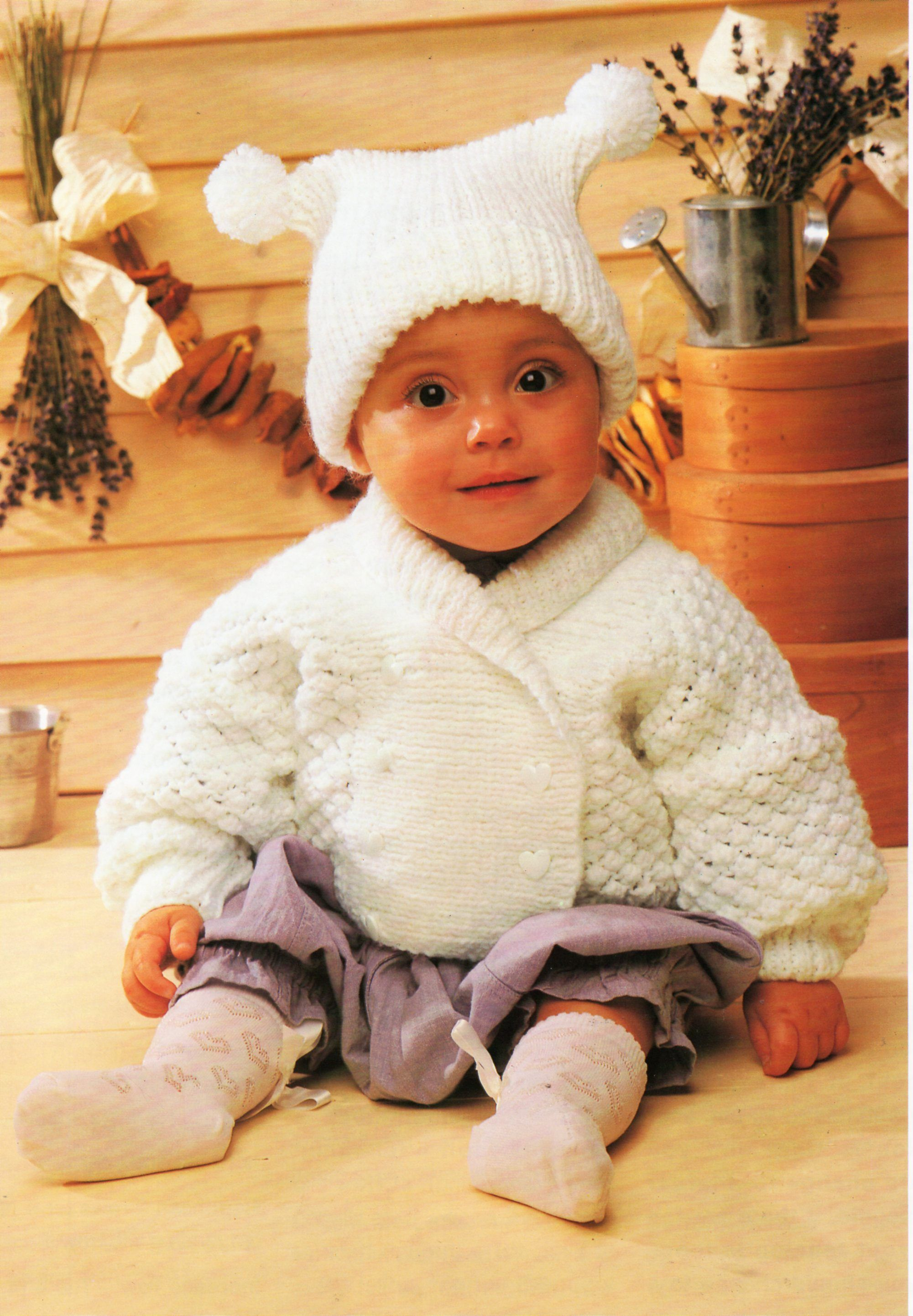 Baby jacket hat knitting pattern pdf baby double breasted shawl ...