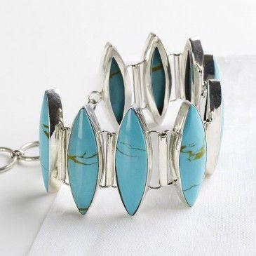 Marquise Cut Turquoise Toggle Bracelet