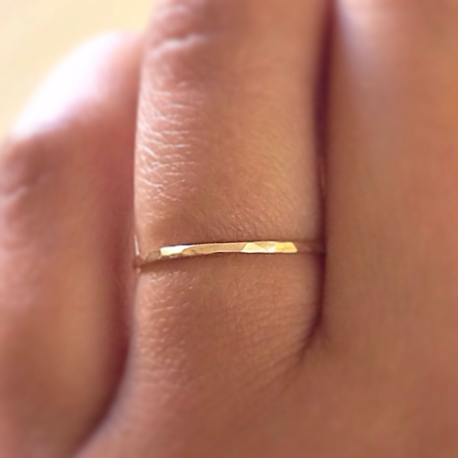 SKINNY Gold Stack RIng,14k Gold Filled Stacking Ring, Gold Band Ring, Hammered Gold Ring, Minimalist Jewelry by ArkensJewelryBox on Etsy