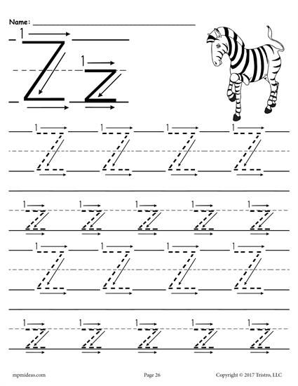Free Printable Letter Z Tracing Worksheet With Number And Arrow