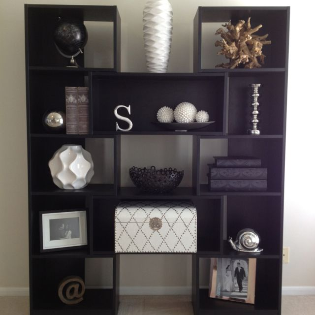Puzzle bookcase living room decor black and white - Decorative things for living room ...