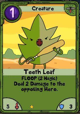 Adventure Time Card Wars - Teeth Leaf - Useless Swamp Lands Card - time card