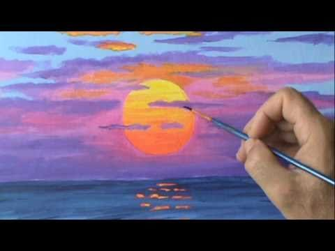 How To Paint A Red Sun At Sunset Using Acrylic Paint Canvas