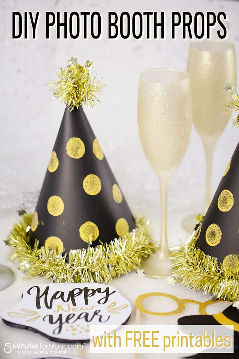 DIY New Year's Eve Photo Booth Props - How to make party hats and other fun photo booth props. #ad #photobooth #photoprops #newyears #newyearsparty #partyhats #diyphotobooth #diypartyhats