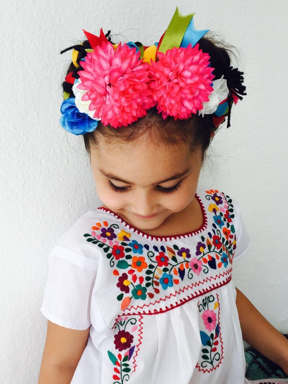 Vestido Bordado Mexicano Para Niñas Color Blanco Vestidos
