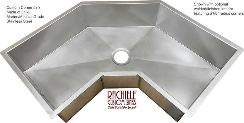 Corner Kitchen Sink Made Of Marine Grade Stainless Steel Sink Corner Sink Kitchen Custom Sinks