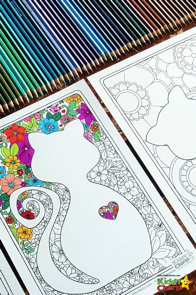 Free cat mindful coloring pages for kids & adults | Colorear ...