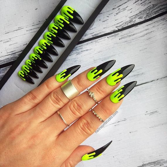 Neon Yellow Matte Dripping Halloween Creepy 10 Fake Nails Fluo Green And Glossy Shiny Black Stiletto Coffin Square Almond Oval Halloween In 2020 Neon Green Nails Drip Nails Green Nails