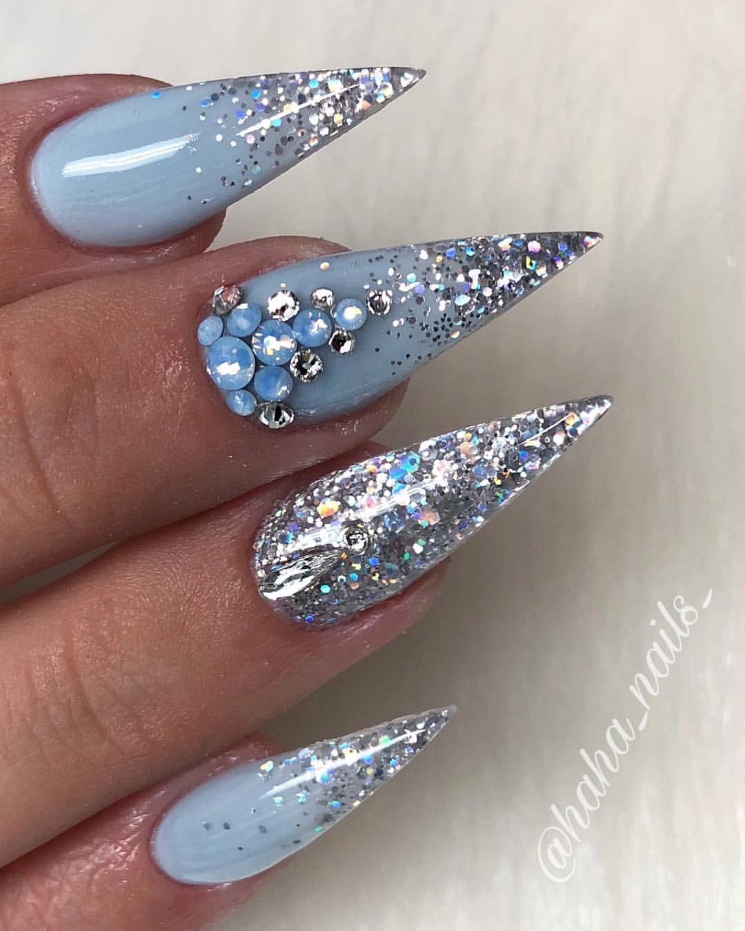 Dch Acrylic Winter Nails Stiletto Bling Nails Swarovski 115 8k